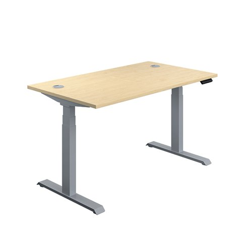 Jemini Sit Stand Desk 1400x800mm Maple/Silver KF809838