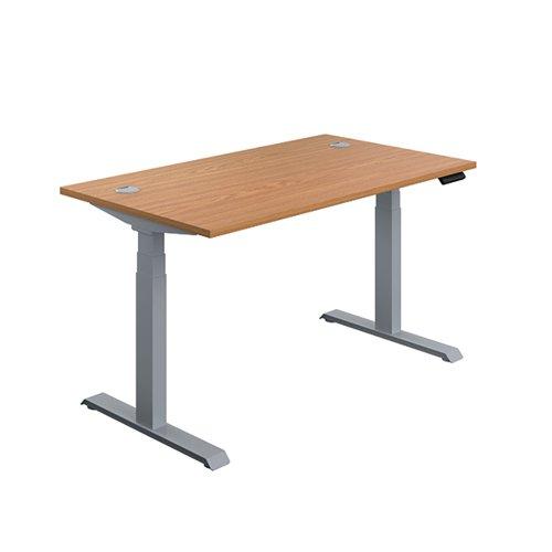 Jemini Sit/Stand Desk with Cable Ports 1400x800x630-1290mm Nova Oak/Silver KF809845