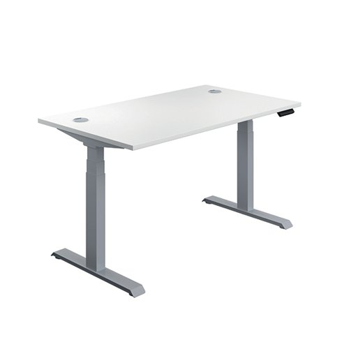 Jemini Sit Stand Desk 1400x800mm White/Silver KF809852