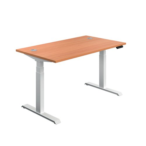 Jemini Sit/Stand Desk with Cable Ports 1400x800x630-1290mm Beech/White KF809869