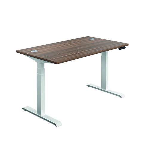 Jemini Sit Stand Desk 1400x800mm Dark Walnut/White KF809876