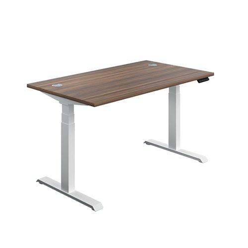 Jemini Sit/Stand Desk with Cable Ports 1400x800x630-1290mm Dark Walnut/White KF809876
