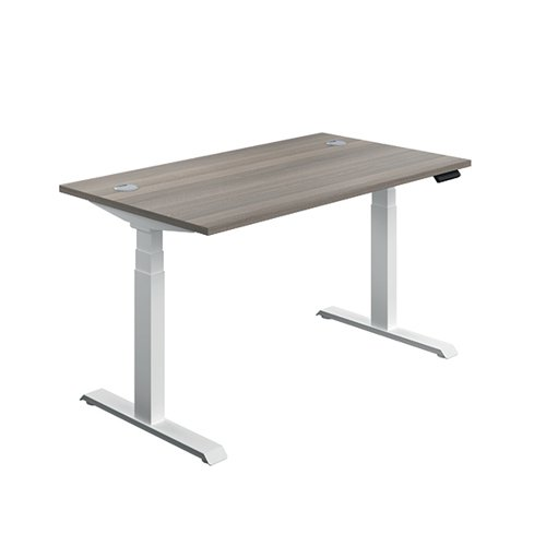 Jemini Sit Stand Desk 1400x800mm Grey Oak/White KF809883