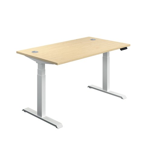 Jemini Sit/Stand Desk with Cable Ports 1400x800x630-1290mm Maple/White KF809890