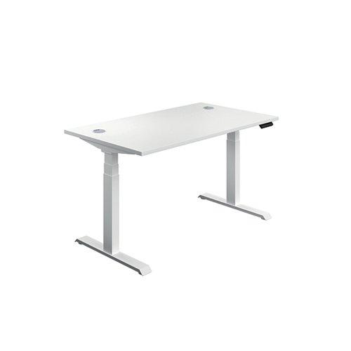 Jemini Sit Stand Desk 1400x800mm White/White KF809913
