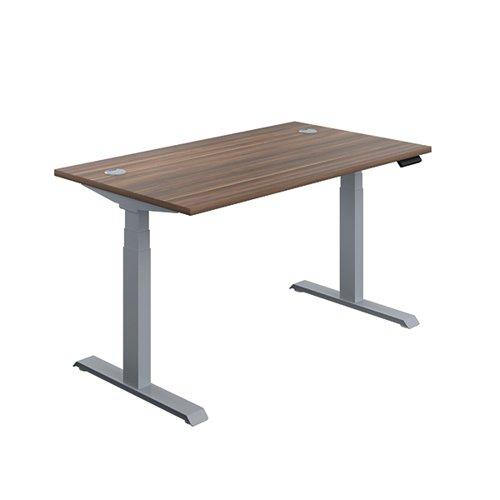 Jemini Sit Stand Desk 1600x800mm Dark Walnut/Silver KF809937