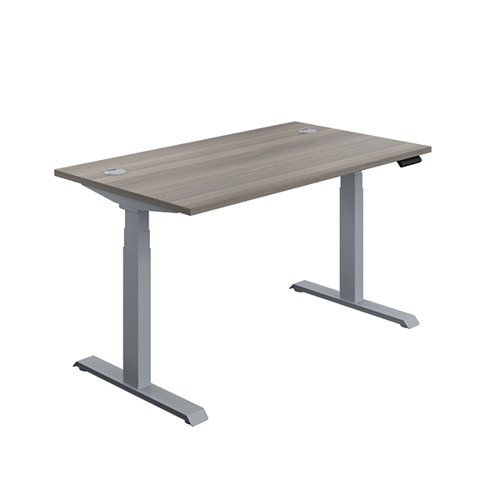 Jemini Sit Stand Desk 1600x800mm Grey Oak/Silver KF809944