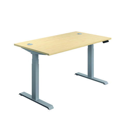 Jemini Sit/Stand Desk with Cable Ports 1600x800x630-1290mm Maple/Silver KF809951