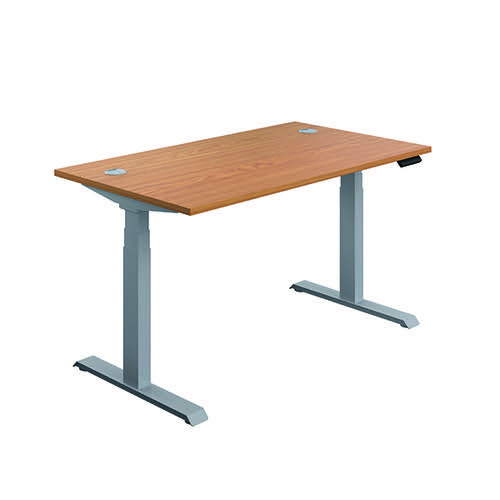 Jemini Sit/Stand Desk with Cable Ports 1600x800x630-1290mm Nova Oak/Silver KF809968