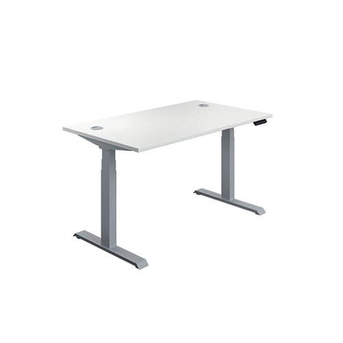 Jemini Sit/Stand Desk with Cable Ports 1600x800x630-1290mm White/Silver KF809975