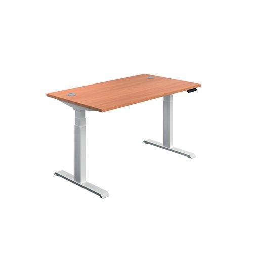 Jemini Sit Stand Desk 1600x800mm Beech/White KF809982