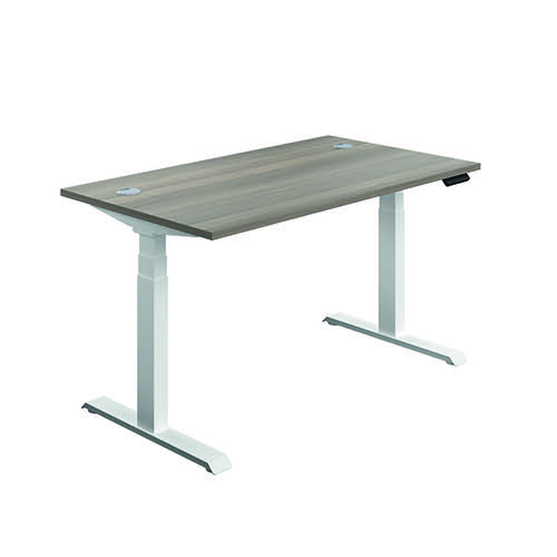 Jemini Sit Stand Desk 1600x800mm Grey Oak/White KF810001
