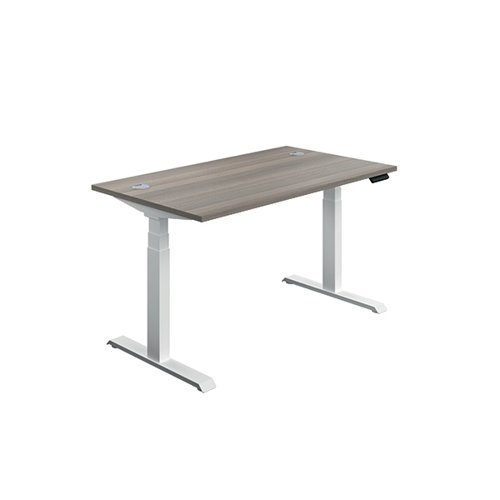 Jemini Sit/Stand Desk with Cable Ports 1600x800x630-1290mm Grey Oak/White KF810001