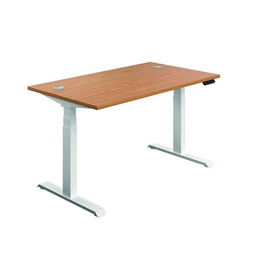 Jemini Sit/Stand Desk with Cable Ports 1600x800x630-1290mm Nova Oak/White KF810025