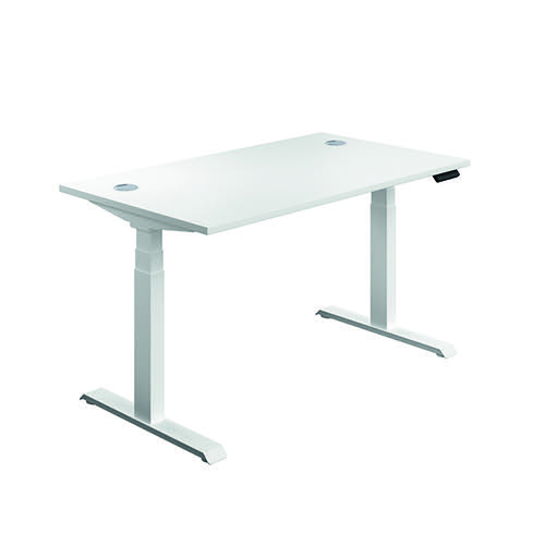Jemini Sit Stand Desk 1600x800mm White/White KF810032