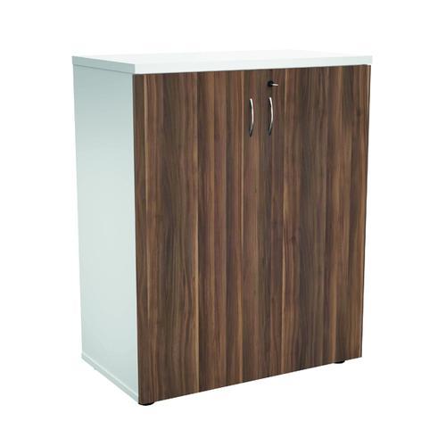 Jemini 1000 Wooden Cupboard 450mm Depth White/Dark Walnut KF810124 by VOW, KF810124
