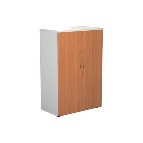 Jemini 1200 Wooden Cupboard 450mm Depth White/Beech KF810285