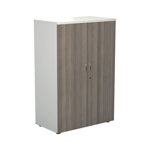 Jemini 1200 Wooden Cupboard 450mm Depth White/Grey Oak KF810308