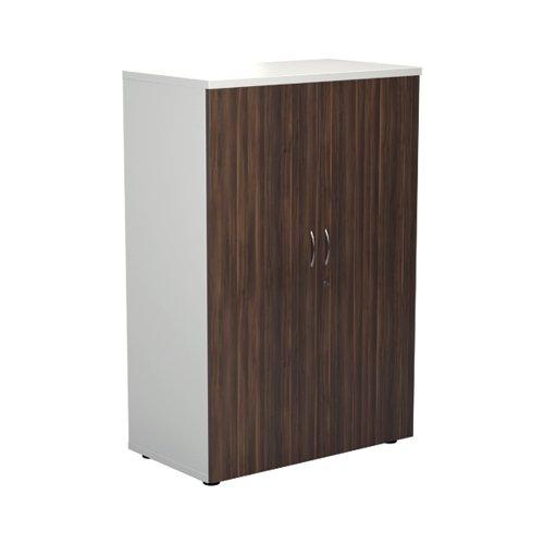 Jemini 1600 Wooden Cupboard 450mm Depth White/Dark Walnut KF810469