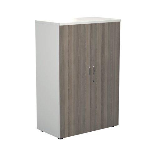 Jemini 1600 Wooden Cupboard 450mm Depth White/Grey Oak KF810476