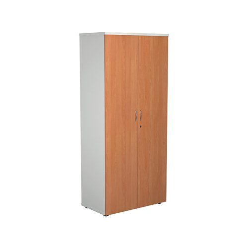 Jemini 1800 Wooden Cupboard 450mm Depth White/Beech KF810629