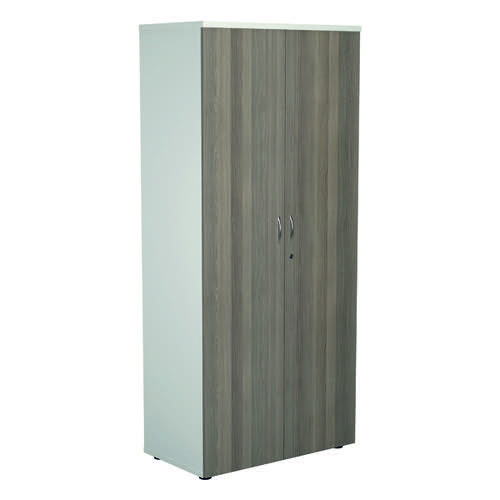 Jemini 1800 Wooden Cupboard 450mm Depth White/Grey Oak KF810728