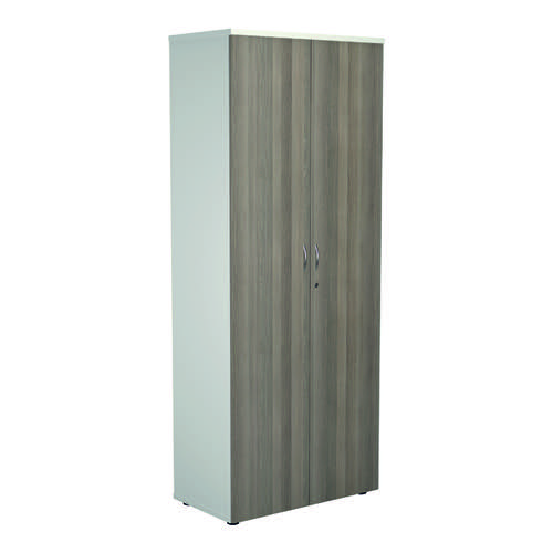 Jemini 2000 Wooden Cupboard 450mm Depth White/Grey Oak KF811121