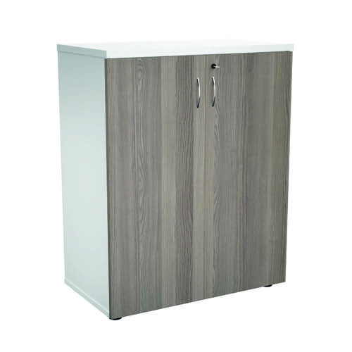 Jemini 700 Wooden Cupboard 450mm Depth White/Grey Oak KF811299