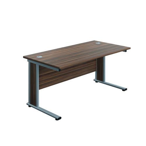 Jemini Double Upright Wooden Insert Rectangular Desk 800x600mm Dark Walnut/Silver KF811428
