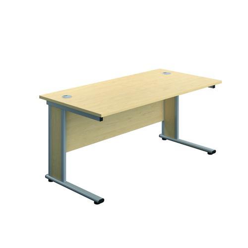 Jemini Double Upright Wooden Insert Rectangular Desk 1400x600mm Maple/Silver KF811657