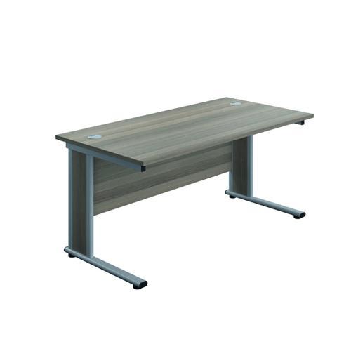Jemini Double Upright Wooden Insert Rectangular Desk 1600x600mm Grey Oak/Silver KF811749