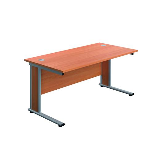 Jemini Double Upright Wooden Insert Rectangular Desk 1400x800mm Beech/Silver KF812210