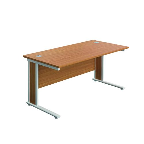 Jemini Double Upright Wooden Insert Rectangular Desk 1600x800mm Nova Oak/White KF812418