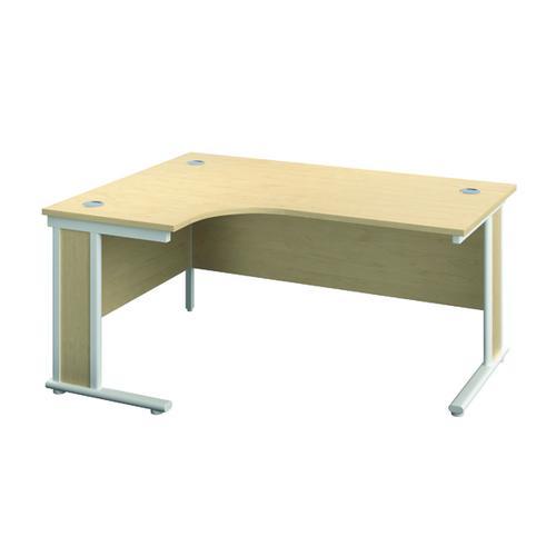 Jemini Double Upright Wooden Insert Left Hand Radial Desk 1600x1200mm Maple/White KF812982