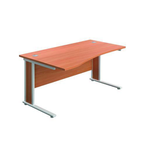 Jemini Double Upright Wooden Insert Left Hand Wave Desk 1600x1000mm Beech/White KF813668