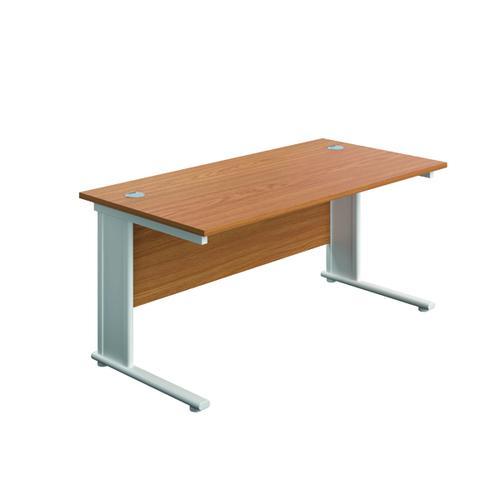 Jemini Double Upright Metal Insert Rectangular Desk 1200x600mm Nova Oak/White KF813989