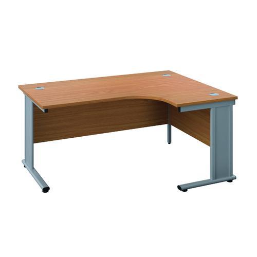 Jemini Double Upright Metal Insert Right Hand Radial Desk 1600x1200mm Nova Oak/Silver KF815380