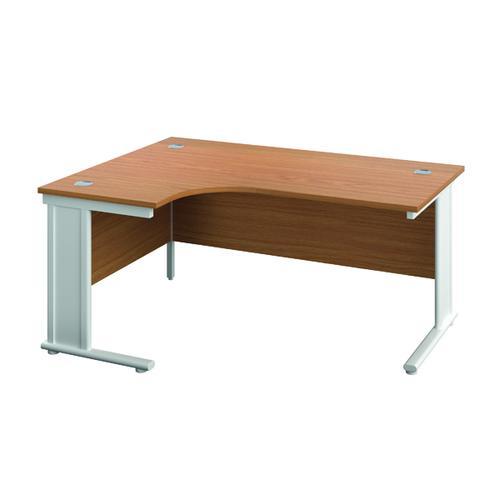 Jemini Double Upright Metal Insert Left Hand Radial Desk 1600x1200mm Nova Oak/White KF815442