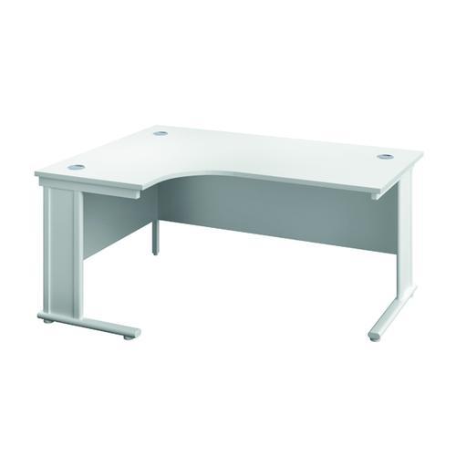 Jemini Double Upright Metal Insert Left Hand Radial Desk 1600x1200mm White/White KF815459
