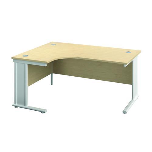 Jemini Double Upright Metal Insert Left Hand Radial Desk 1600x1200mm Maple/White KF815466