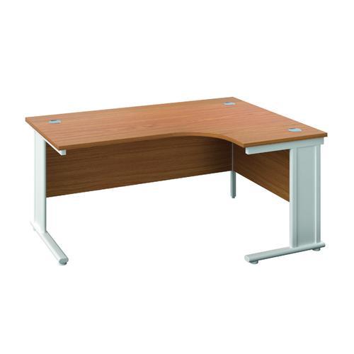 Jemini Double Upright Metal Insert Right Hand Radial Desk 1600x1200mm Nova Oak/White KF815503