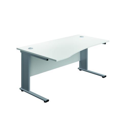 Jemini Double Upright Metal Insert Left Hand Wave Desk 1600x1000mm White/Silver KF816053