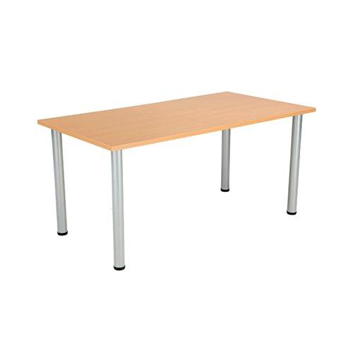 Jemini Rectangular Meeting Table 1600x800x730mm Beech/Silver KF816630