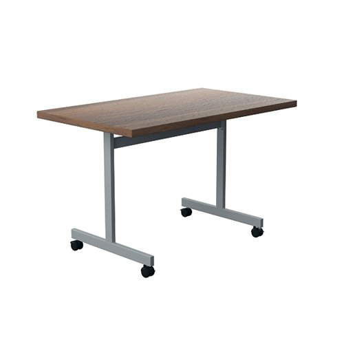 Jemini Tilting Table 1200 x 700mm Dark Walnut/Silver KF816739