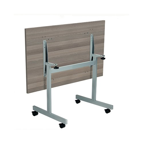 Jemini Rectangular Tilting Table 1200 x 700mm Grey Oak/Silver KF816746