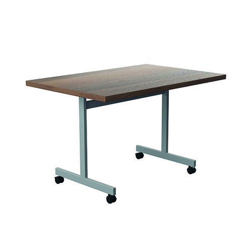 Jemini Tilting Table 1200 x 800mm Dark Walnut/Silver KF816783