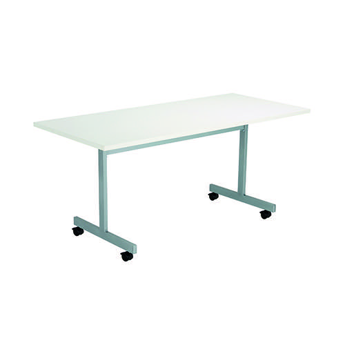 Jemini Rectangular Tilting Table 1600 x 700mm White/Silver KF816869