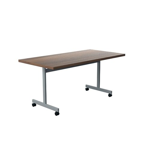 Jemini Tilting Table 1800 x 800mm Dark Walnut/Silver KF816882