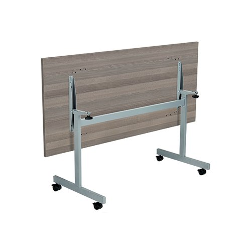Jemini Rectangular Tilting Table 1800 x 800mm Grey Oak/Silver KF816899