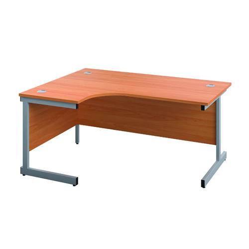 Jemini Left Hand Radial Desk 1200x1200mm Beech/Silver KF816981